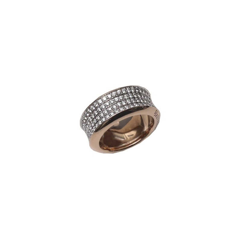 Roze gouden ring met diamanten