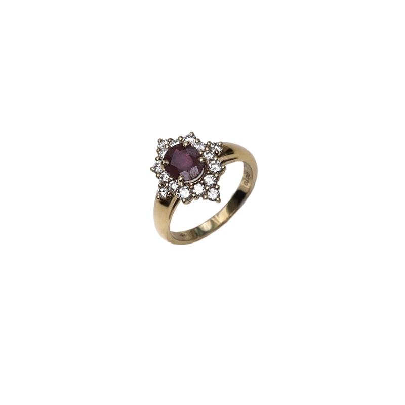Geel gouden ring met robijn en diamanten