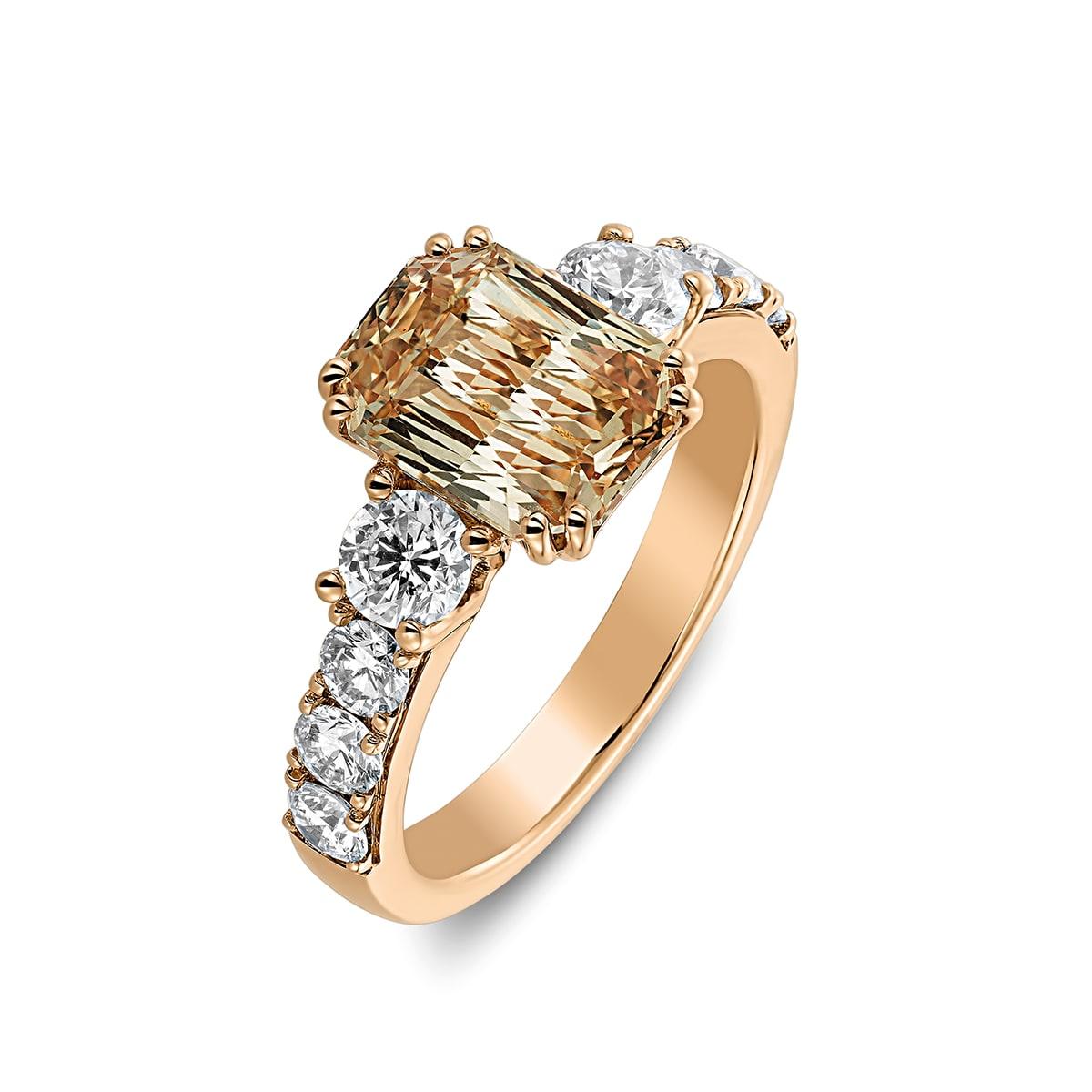 Ring saffier rosé goud